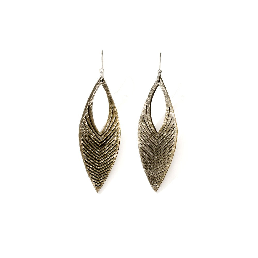 Oropopo Chevron Earrings - Pewter