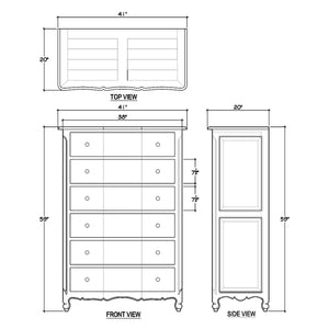 Bramble Provence 6 Drawer Tallboy Dresser