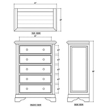 Load image into Gallery viewer, Bramble Huntley Tall 5 Drawer Dresser 26144TLT