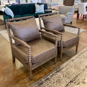 Bomber Brown Accent Chair Pair