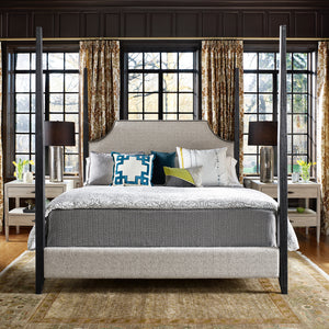 King Four Poster Upholstered Bed