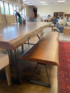 "London Loft 94"" Live Edge Dining Table + 72"" Bench"