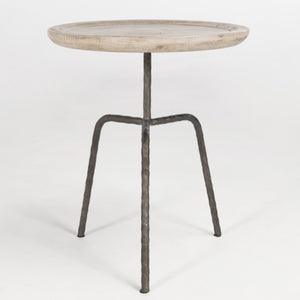 Round Accent Table with Iron Base