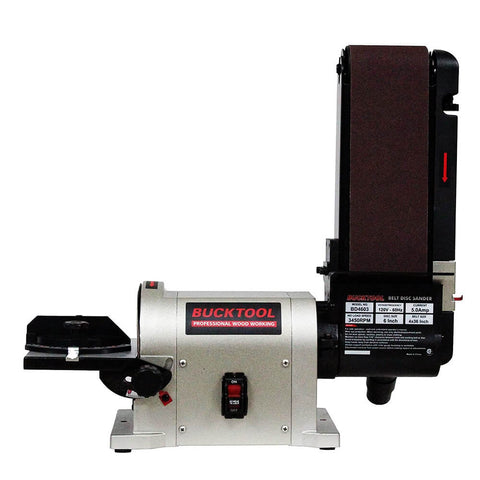BUCKTOOL | BD4603 Belt Disc Sander 4 in. x 36 in | Belt and 6 in. Disc Sander Benchtop with 3/4HP Direct-drive Motor and Portable Al Base BD4603