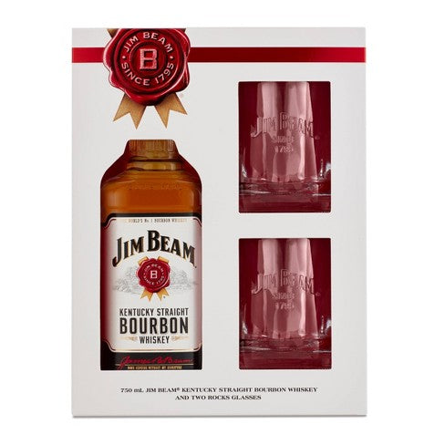 JIM BEAM 750ml GLASS GIFT SET