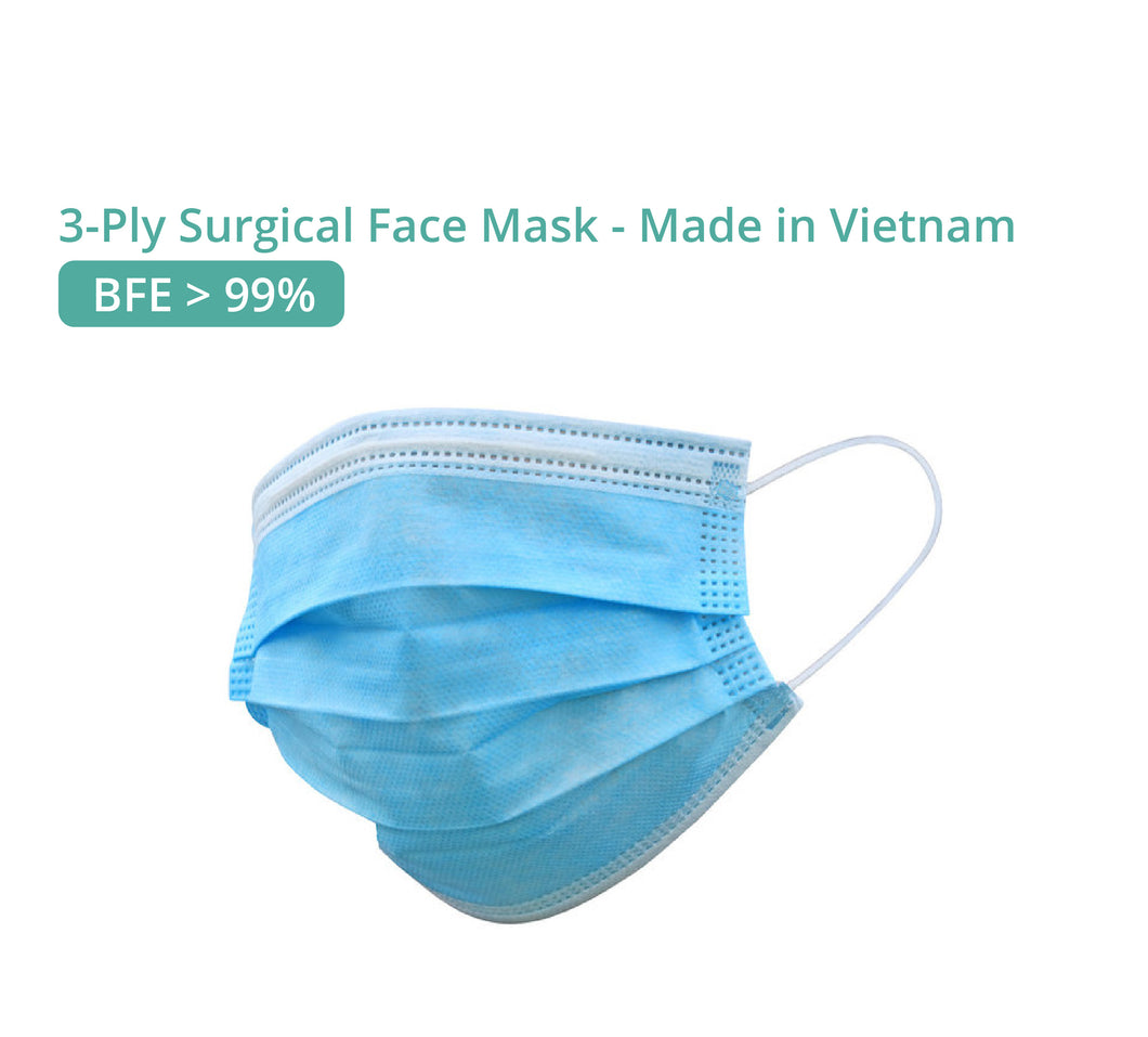 3-Ply Surgical Face Mask, BFE >99%, made in Vietnam