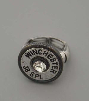 Black Silver Winchester 38 Special Bullet Ring