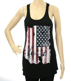 Black Vintage American Flag Tank Top