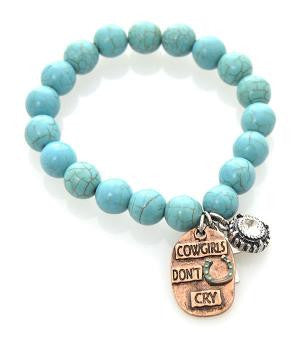 Cowgirls Don't Cry Turquoise Bead Bracelet