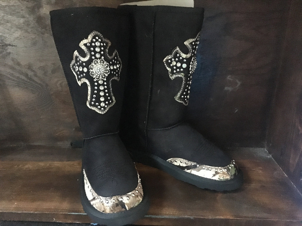 Black Montana West Camo Inlay Boots Size 6