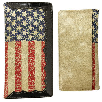 Mens American Flag Checkbook Wallet
