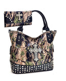 Western Camo Cross Slouch Handbag and Wallet Set