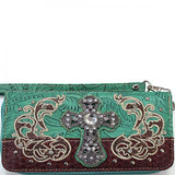 Distressed Rhinestone Cross Wristlet Wallet