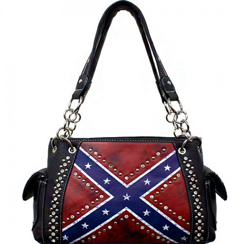 Studded Vintage Rebel Flag Shoulder Bag