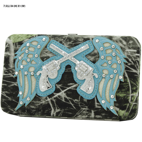 Camo Wing and Pistol Rhinestone Wallet