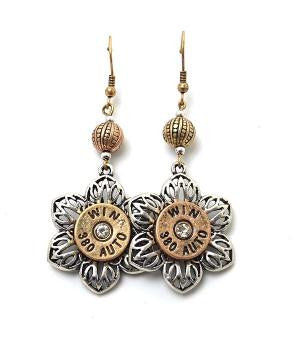 Gold and Silver Flower Bullet Earrings