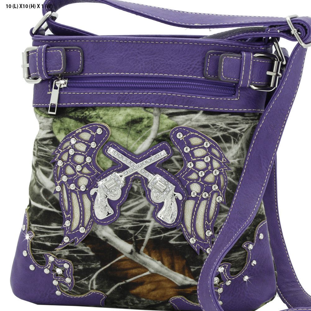 Purple Wing and Pistol Crossbody Purse