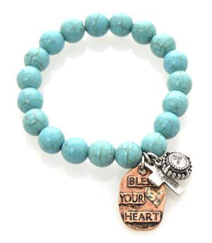 Bless Your Heart Turquoise Bead Bracelet