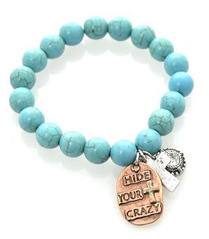 Hide Your Crazy Turquoise Bead Bracelet
