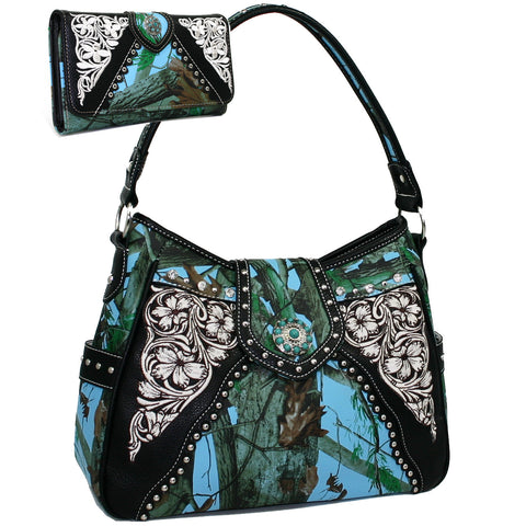 Concho Accented Hobo Purse and Wallet Set