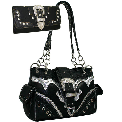 Studded Western Buckle Front Shoulder Bag Purse and Wallet Set