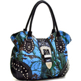 Patent Faux Leather Camo Rhinestone Buckle Hobo Bag