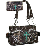 Camo and Turquoise Cross Purse and Wallet Set