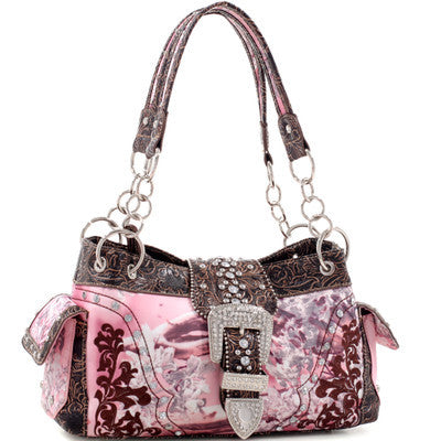 Faux Leather Floral Embroidered & Western Stitched Rhinestone Buckle Bag