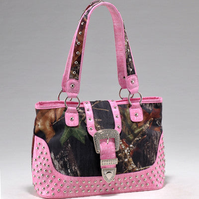 Camouflage/ Croco Studded Tote Bag with Rhinestone Buckle
