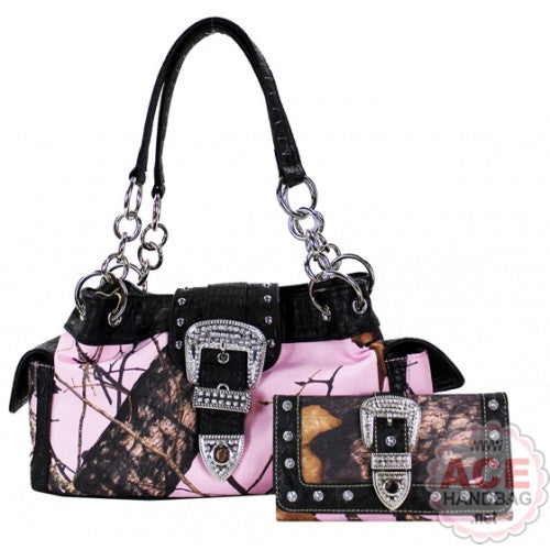 Pink Mossy Oak Purse and Wallet Set