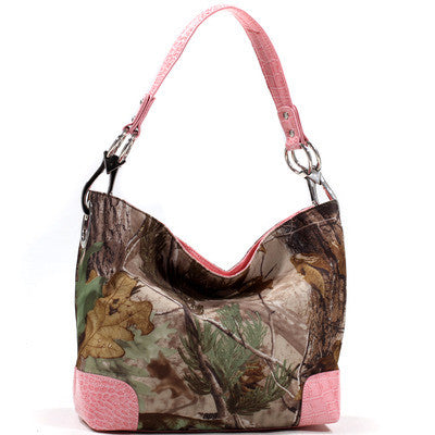Camouflage tote bag w/ croco embossed trim & shoulder strap