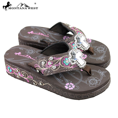 Montana West Embroidered Wedge Cross Flip Flops