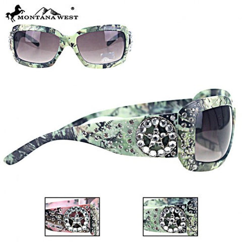 Montana West Camo Star Rhinestone Sunglasses