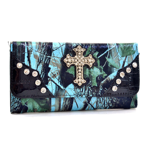 Blue Camo Cross Tri Fold Wallet