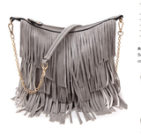 Solid Fringe Accented Messenger Bag With Chain Strap