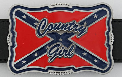 Country Girl Rebel Flag Belt Buckle