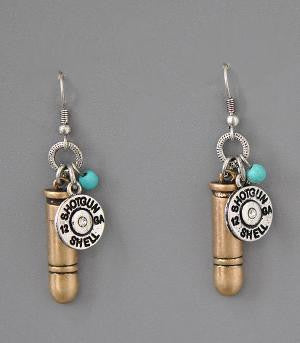 Gold Bullet Charm Shotgun Earrings