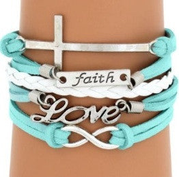 Aqua Cross & Faith Multi-Strand Bracelet