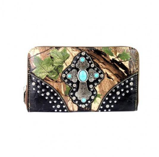 Montana West Turquoise Accent Cross Camo Wallet
