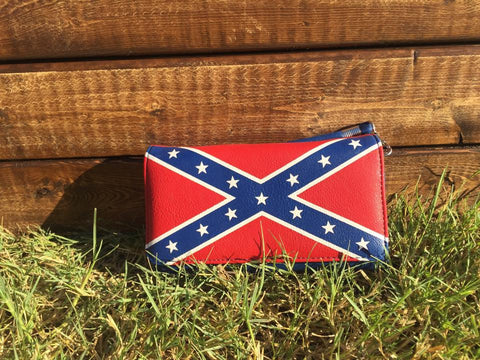 Dixie Girl Rebel Flag Wallet with Wristlet Strap