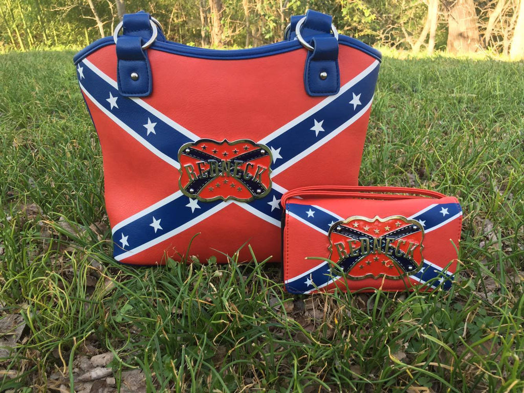 Redneck Rebel Flag Purse and Wallet Set
