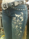 Trinity Ranch Designer Cross and Rhinestone Rodeo Western Ladies Fashion Jeans