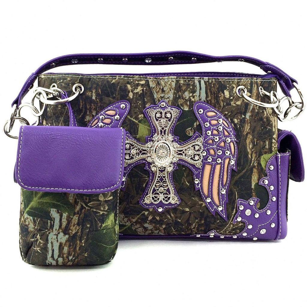 Camo Wing And Cross Gun Concealment Purse