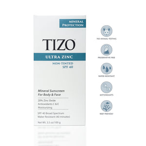 Tizo Ultra Zink Body & Face Sunscreen non-tinted dewy finish SPF 40