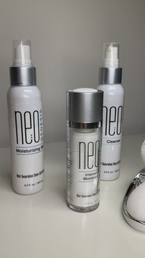 NeoGenesis 4pc set Intensive Moisturizer, Moisturizing Mist ,Cleanser and Free Halylo Sonic Brush