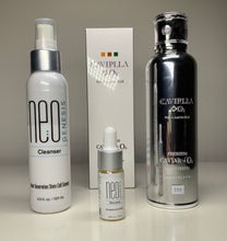 Load image into Gallery viewer, NeoGenesis Cleanser 120ml with Recovery 10ml and CAVIPLLA +O2 Premium Caviar Multi Serum Caviar