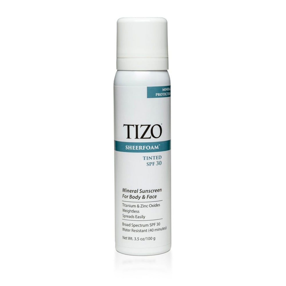 Tizo Sheerfoam Body & Face Sunscreen Tinted dewy finish SPF 30