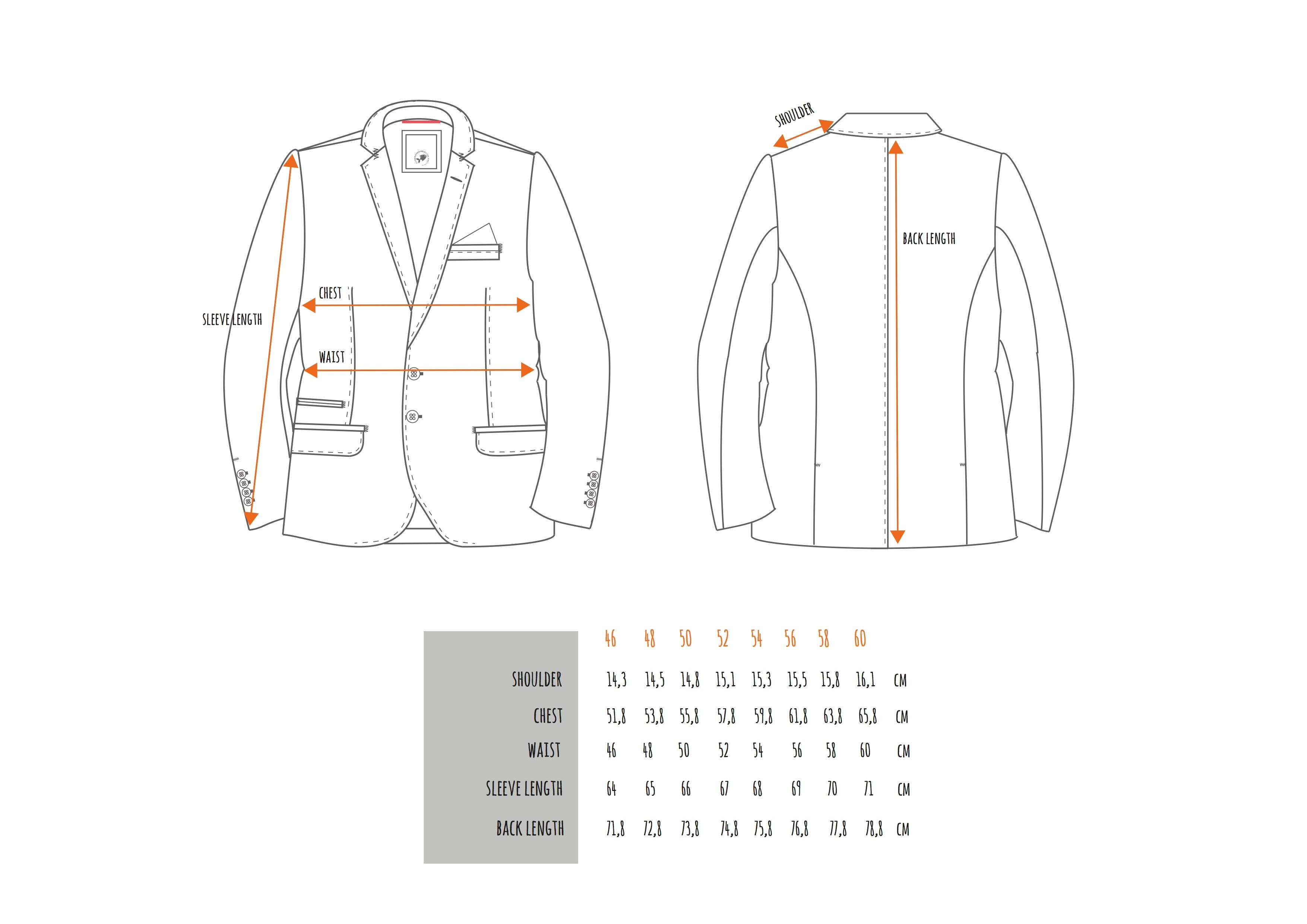 AFNF Jacket Sizing Chart