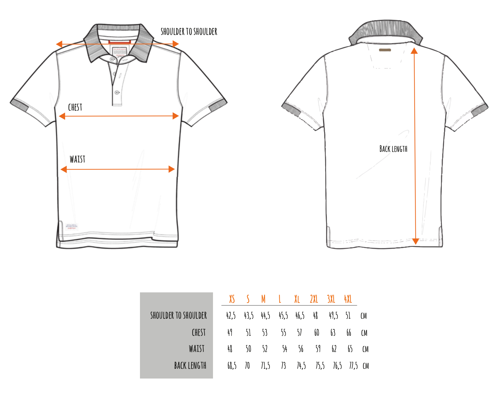 AFNF Polo and Tee Sizing Chart