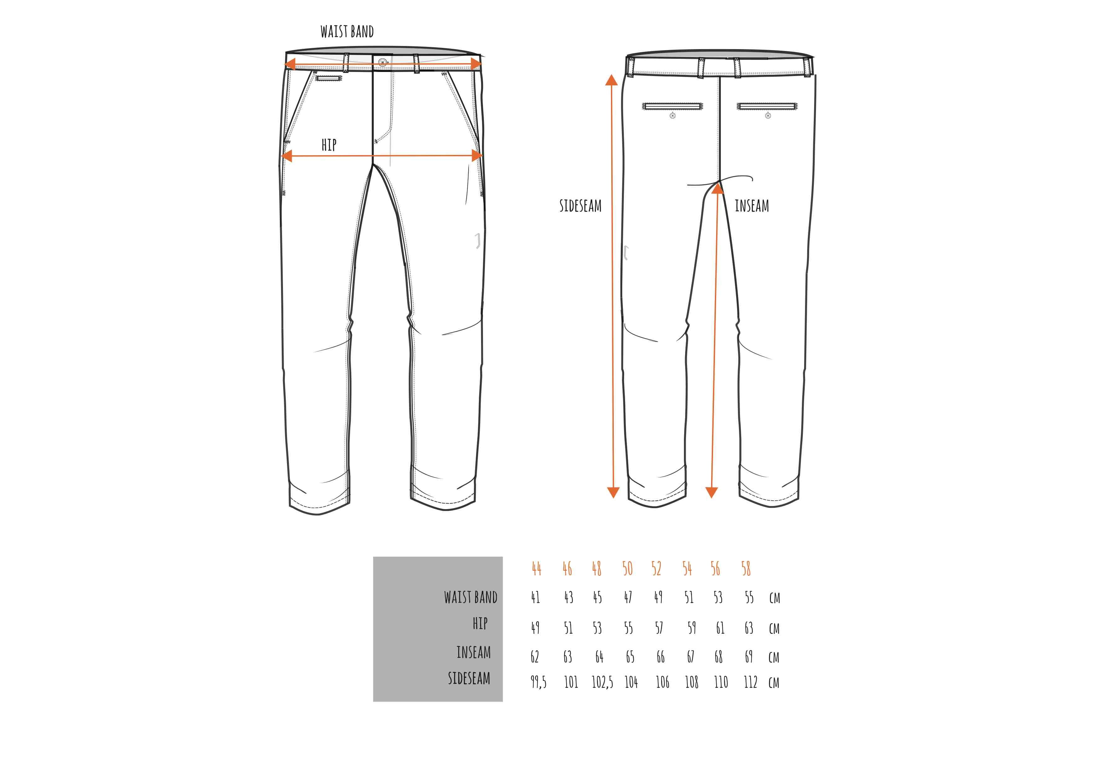 AFNF Trouser Sizing Chart